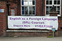 Banner promoting an EFL (English as a Foreign Language) course, Adult Learning Centre, Guildford, Surrey.
