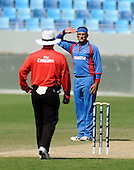 Afghanistan V UAE - World T20 Super Four stage qualifying cricket match in Dubai Sports City Cricket Stadium - Afghanistan bowler Hamid Hassan salutes umpire Paul Baldwin for a decision - he took 2 for 24 in the game. The winners of this match qualify for the World T20 - Picture by Donald MacLeod 13.02.10