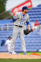 Hartford Yard Goats relief pitcher Shane Broyles (35) looks in for the sign during a game against the Binghamton Rumble Ponies on July 9, 2017 at NYSEG Stadium in Binghamton, New York.  Hartford defeated Binghamton 7-3.  (Mike Janes/Four Seam Images)
