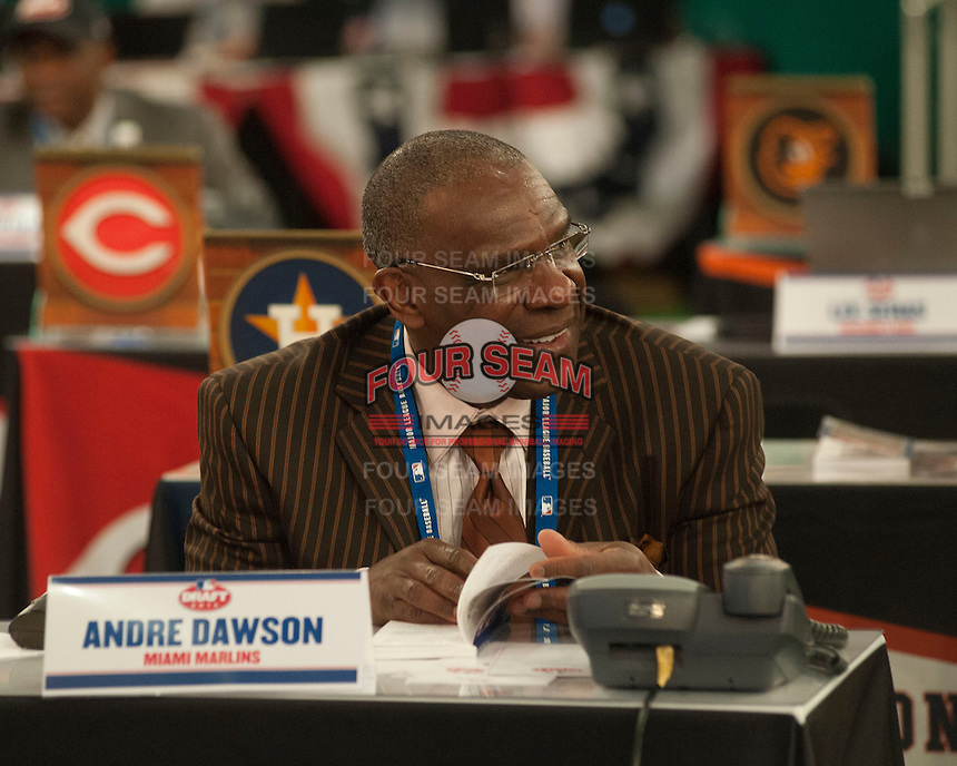 Hall of Fame outfielder Andre Dawson during the MLB Draft on Thursday June 05,2014 at Studio 42 in Secaucus, NJ.   (Tomasso DeRosa/ Four Seam Images)