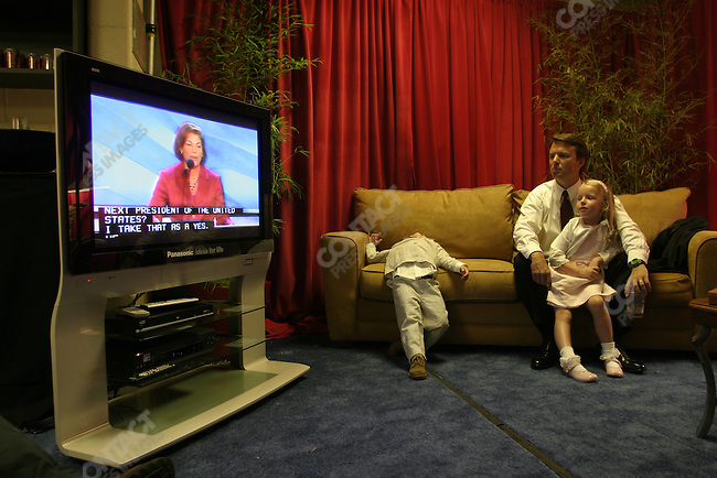 Senator John Edwards and his family, after giving his speech at the Democratic National Convention to accept the Democratic vice-presidential nomination. July 29, 2004