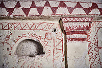 Pictures &amp; images of Aynali Kilise (Church) cave church interior frescoes, iconoclastic period (725-842), near Goreme, Cappadocia, Nevsehir, Turkey<br /> <br /> During the iconoclastic period (725-842) it was forbidden to depict any religious figures in the Orthodox Church so interiors were decorated with simple red and white geometric patterns and crosses.