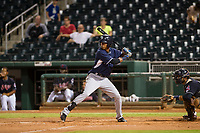 AZL Padres designated hitter Angel Santos (14) at bat against the AZL Indians on August 30, 2017 at Goodyear Ball Park in Goodyear, Arizona. AZL Padres defeated the AZL Indians 7-6. (Zachary Lucy/Four Seam Images)