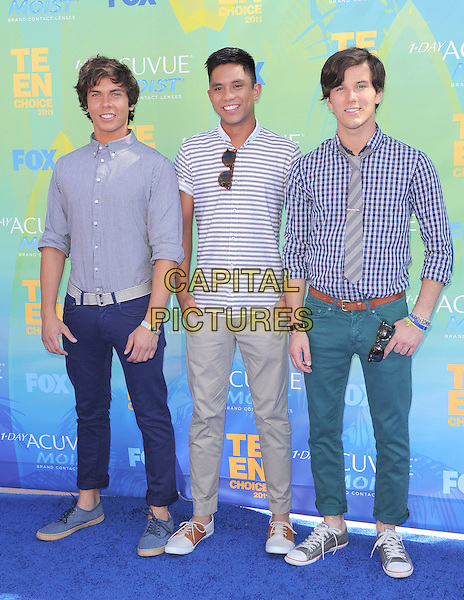 Allstar Weekend.2011 Teen Choice Awards - Arrivals held at Gibson Amphitheatre, Universal City, California, USA..August 7th, 2011.full length jeans denim white blue grey gray shirt tie..CAP/RKE/DVS.©DVS/RockinExposures/Capital Pictures.
