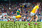 Sean O'Shea, Kerry in action against Donal Keoghan, Meath during the Football All-Ireland Senior Championship Quarter-Final Group 2 Phase 3 match between Kerry and Meath at Páirc Tailteann, Navan on Saturday.