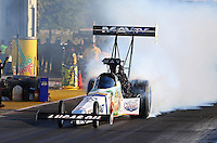Sep 27, 2013; Madison, IL, USA; NHRA top fuel dragster driver Brandon Bernstein during qualifying for the Midwest Nationals at Gateway Motorsports Park. Mandatory Credit: Mark J. Rebilas-