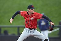 San Diego State Aztecs relief pitcher Avery Jones (11) in action against the UNCG Spartans at Springs Brooks Stadium on February 16, 2020 in Conway, South Carolina. The Spartans defeated the Aztecs 11-4.  (Brian Westerholt/Four Seam Images)