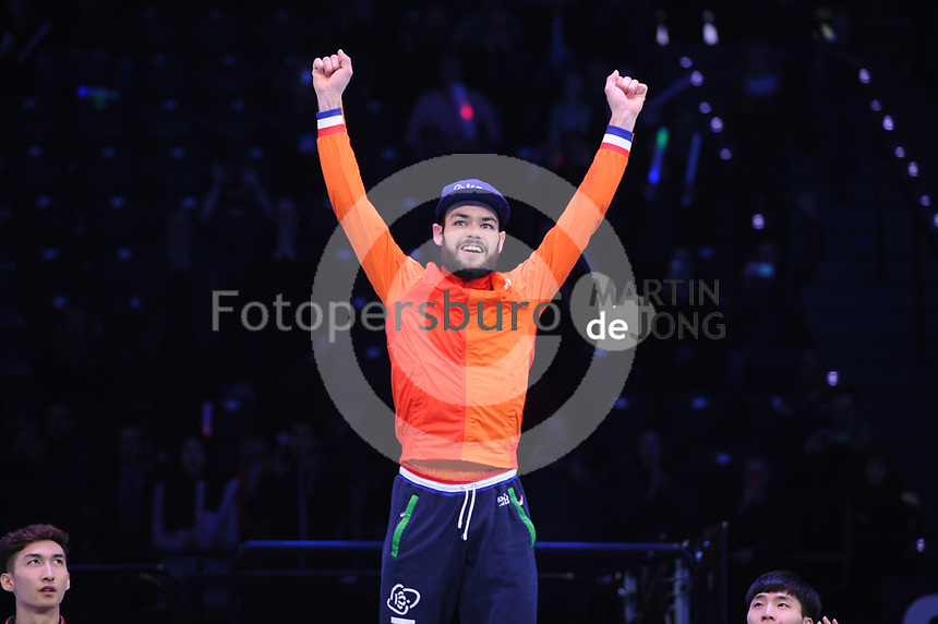SHORT TRACK: ROTTERDAM: Ahoy, 11-03-2017, KPN ISU World Short Track Championships 2017, Podium 500m Men, Sjinkie Knegt (NED), ©photo Martin de Jong