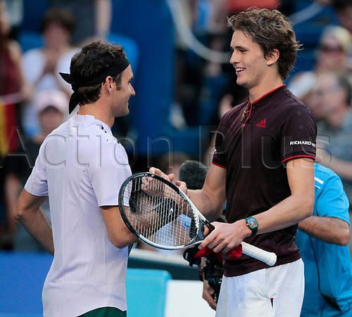 6th January 2018, Perth Arena, Perth, Australia; MasterCard Hopman Cup Tennis Final; Alexander Zverev of Team Germany congratulates Roger Federer of Team Switzerland after he won the Final 2 sets to 1