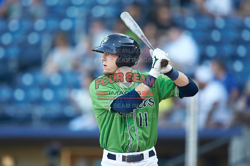 Drew Waters (11) of the Gwinnett Stripers at bat against the Scranton/Wilkes-Barre RailRiders at Coolray Field on August 16, 2019 in Lawrenceville, Georgia. The Stripers defeated the RailRiders 5-2. (Brian Westerholt/Four Seam Images)