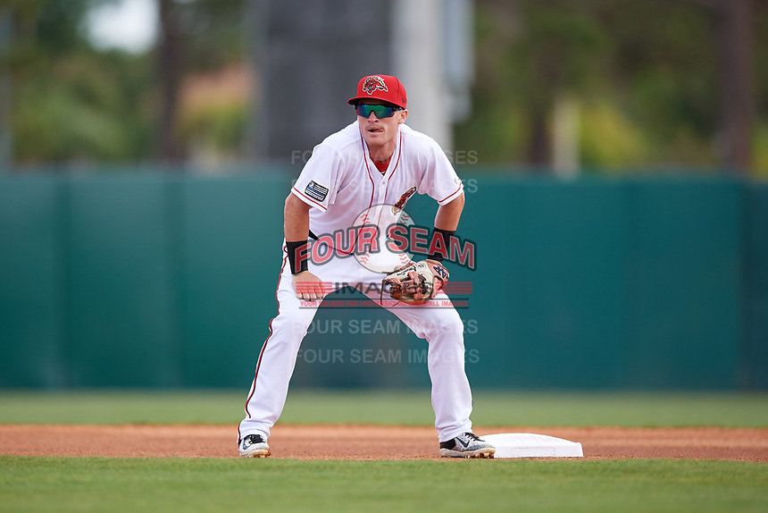 Florida Fire Frogs second baseman Marcus Mooney (11) during a game against the Daytona Tortugas on April 8, 2018 at Osceola County Stadium in Kissimmee, Florida.  Daytona defeated Florida 2-1.  (Mike Janes/Four Seam Images)