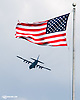 American Flag and a Delaware Air National Guard plane flying over Delaware Park on 5/27/15