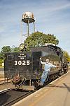 Essex, CT Steam Train excursion. Locomotive moving toward coupling cars.