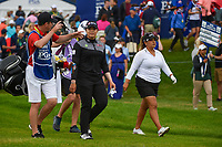 Ariya Jutanugarn (THA) shares a laugh with her caddie as they head down 1 during round 4 of the KPMG Women's PGA Championship, Hazeltine National, Chaska, Minnesota, USA. 6/23/2019.<br /> Picture: Golffile | Ken Murray<br /> <br /> <br /> All photo usage must carry mandatory copyright credit (© Golffile | Ken Murray)