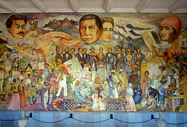 Mural by Arturo Garcia Bustos in Government Palace, Oaxaca, Oaxaca State, Mexico, North America