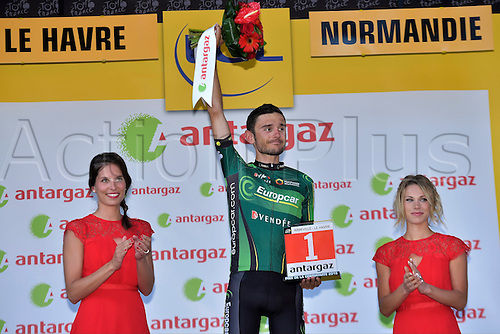 QUEMENEUR Perrig of Team Europcar receives the combativity award during the podium ceremony after stage 6 of the 102nd edition of the Tour de France 2015 with start in Abbeville and finish in Le Havre, France (191 kms)