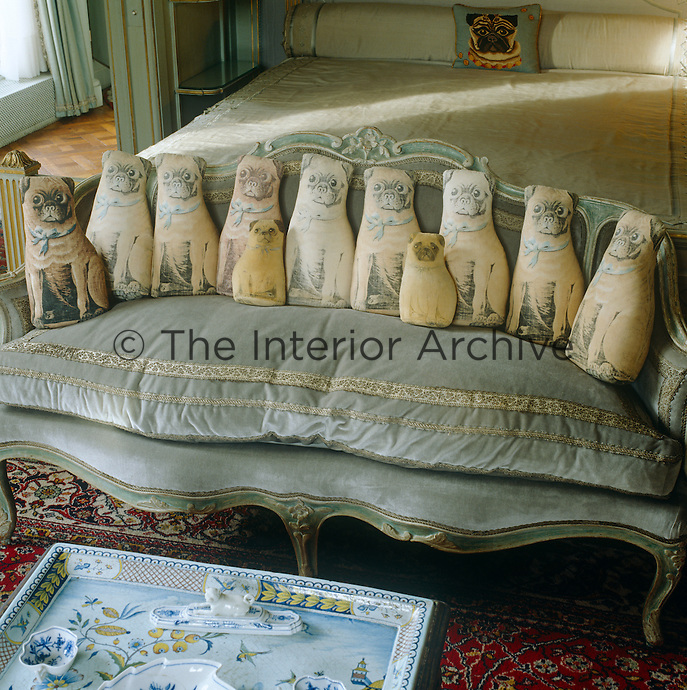 A collection of cushions in the form of pugs can be found on the sofa in the Duchess of Windsor's bedroom - a testament to a lifelong devotion to the breed