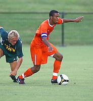 Virginia's plays against Goerge Mason during an exhibition game August 21, 2009 at Klockner Stadium in Charlottesville, VA. Photo/Andrew Shurtleff.