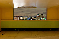 Terraza Piso 12 Bloque E-F. The interior livingroom windows of apartments in the Chihuahua building of Tlatelolco. Mario Pani´s Tlatelolco, plaza de las 3 culturas, Mexico DF