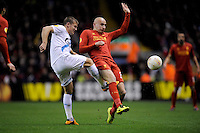 21.02.2013 Liverpool, England.   Jonjo Shelvey  of Liverpool in action during the Europa League game between Liverpool and Zenit St Petersburg from Anfield. Liverpool won 3-1 on the night but went out of the competition on away goals.