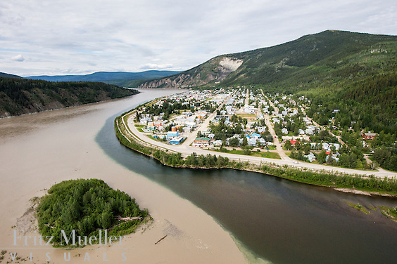 Aerial view of Dawson City, Yukon