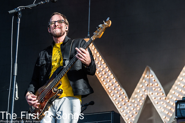 Scott Shriner of Weezer performs at the 2nd Annual BottleRock Napa Festival at Napa Valley Expo in Napa, California.