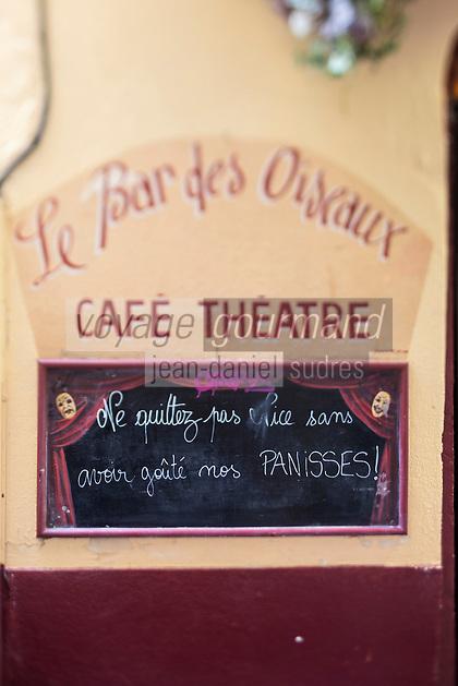 Europe/France/Provence-Alpes-Côte d'Azur/Alpes-Maritimes/Nice: Vieux Nice - Vieille enseigne  restaurant // Europe, France, Provence-Alpes-Côte d'Azur, Alpes-Maritimes, Nice,  district Vieux Nice,  restaurant old sign
