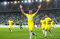 BOGOTA -COLOMBIA, 25-02-2017.Andres Uribe player of Atletico Nacional celebrates his goal against of  Equidad.Action game between  La Equidad and Atletico Nacional during match for the date 5 of the Aguila League I 2017 played at Ne stadium . Photo:VizzorImage / Felipe Caicedo  / Staff