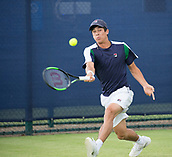 June 11th 2017, Nottingham, England; ATP Aegon Nottingham Open Tennis Tournament day 2;  Forehand from Mackenzie McDonald of USA