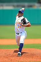 Montgomery Biscuits pitcher Juan Sandoval #34 during a game against the Mobile BayBears on April 16, 2013 at Riverwalk Stadium in Montgomery, Alabama.  Montgomery defeated Mobile 9-3.  (Mike Janes/Four Seam Images)