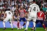 Juanfran Torres of Atletico de Madrid (C) in action during their La Liga  2018-19 match between Real Madrid CF and Atletico de Madrid at Santiago Bernabeu on September 29 2018 in Madrid, Spain. Photo by Diego Souto / Power Sport Images