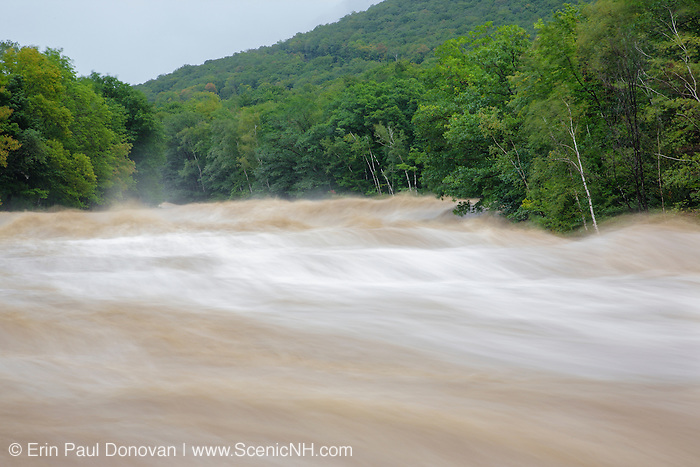 On August 27, 2011, the White Mountain National Forest was officially closed at 6:00PM because of Tropical Storm Irene. This image shows how the East Branch of the Pemigewasset River in Lincoln, New Hampshire looked on August 28, 2011.  This tropical storm caused massive destruction along the East Coast of the United States and the White Mountain National Forest of New Hampshire was officially closed during the storm.