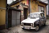 SERBIA, Belgrade, An old car on a cobblestone street in the Zemun neighborhood, Eastern Europe