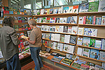 Display of books about birds at RSPB shop, Royal Society for the Protection of Birds, Minsmere, Suffolk, England