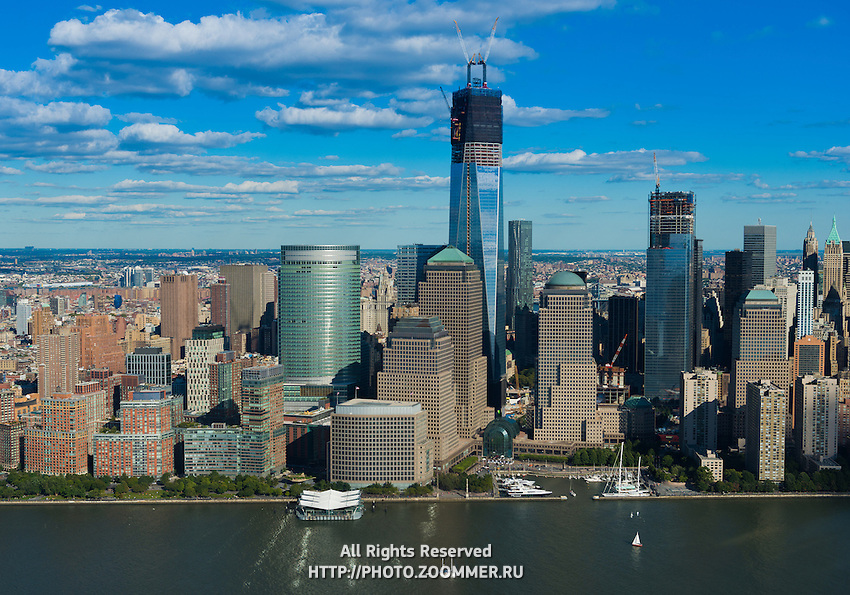 Lower Manhattan view from helicopter: financial district skyscrapers, Freedom tower and Hudson river