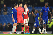 10th January 2018, Stamford Bridge, London, England; Carabao Cup football, semi final, 1st leg, Chelsea versus Arsenal; David Ospina with Héctor Bellerin of Arsenal after the 0-0 drawer