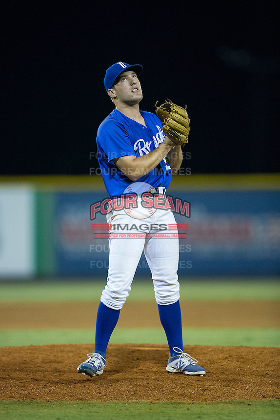 Burlington Royals relief pitcher Jacob Bodner (55) reacts after getting the final out in the game against the Greeneville Astros at Burlington Athletic Park on August 29, 2015 in Burlington, North Carolina.  The Royals defeated the Astros 3-1. (Brian Westerholt/Four Seam Images)
