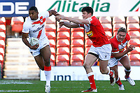 PICTURE BY ALEX WHITEHEAD/SWPIX.COM - Rugby League - Autumn International Series - Wales vs England - Glyndwr University Racecourse Stadium, Wrexham, Wales - 27/10/12 - England's Kallum Watkins makes a break.