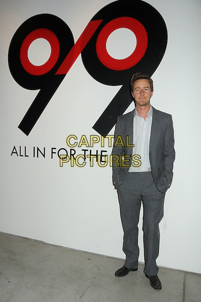 Edward Norton.All In For The 99 Percent Event hosted by Van Jones, Rebuild The Dream and MoveOn.org held at 400 S La Brea, Los Angeles, California, USA, .31st March 2012..full length suit  grey gray beard facial hair stubble hands in pockets .CAP/ADM/BP.©Byron Purvis/AdMedia/Capital Pictures.