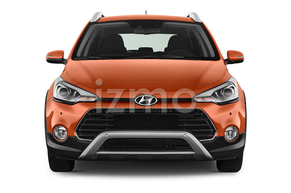 Car photography straight front view of a 2016 Hyundai i20 ACTIVE Pop 5 Door Hatchback Front View