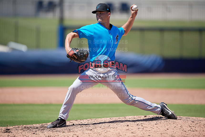 Miami Marlins pitcher Josh Simpson (49) during an Instructional League game against the Washington Nationals on September 26, 2019 at FITTEAM Ballpark of The Palm Beaches in Palm Beach, Florida.  (Mike Janes/Four Seam Images)