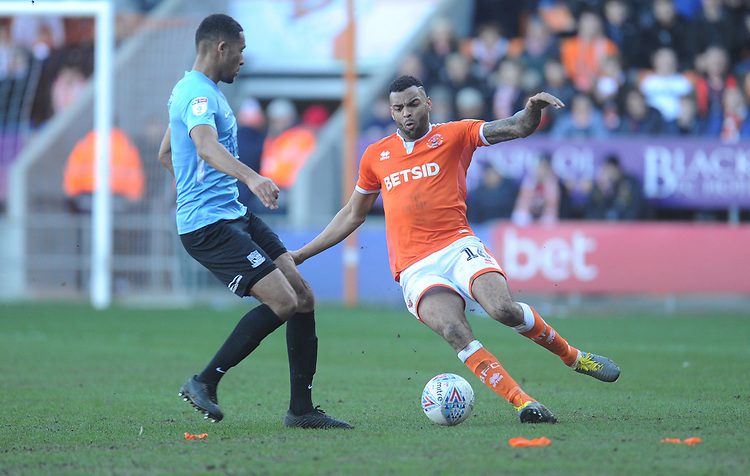 Blackpool's Curtis Tilt under pressure from Southend United's Timothee Dieng<br /> <br /> Photographer Kevin Barnes/CameraSport<br /> <br /> The EFL Sky Bet League One - Blackpool v Southend United - Saturday 9th March 2019 - Bloomfield Road - Blackpool<br /> <br /> World Copyright © 2019 CameraSport. All rights reserved. 43 Linden Ave. Countesthorpe. Leicester. England. LE8 5PG - Tel: +44 (0) 116 277 4147 - admin@camerasport.com - www.camerasport.com
