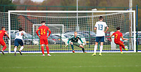 16th November 2019; Leckwith Stadium, Cardiff, Glamorgan, Wales; European Championship Under 19 2020 Qualifiers, Russia under 19s v Wales under 19s; Neco Williams of Wales Under 19 takes the penalty to score Wales Under 19 first goal making it 1-1 in the second half - Editorial Use