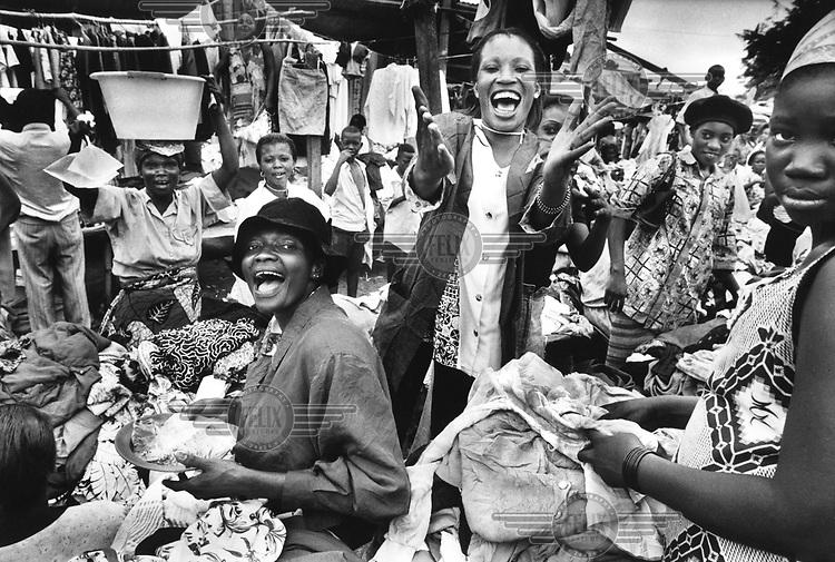 Women in the market. Democratic Republic of Congo (formerly Zaire).