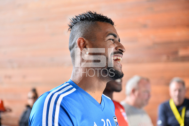 San Jose, CA - Wednesday August 29, 2018: Anibal Godoy prior to a Major League Soccer (MLS) match between the San Jose Earthquakes and FC Dallas at Avaya Stadium.