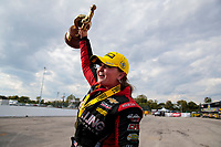 Sep 29, 2019; Madison, IL, USA; NHRA pro stock driver Erica Enders celebrates after winning the Midwest Nationals at World Wide Technology Raceway. Mandatory Credit: Mark J. Rebilas-USA TODAY Sports