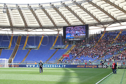 03.04.2016. Stadium Olimpico, Rome, Italy.  Serie A football league. Derby Match SS Lazio versus AS Roma. Protest from the Lazio fans shows sparse attendance at the game today