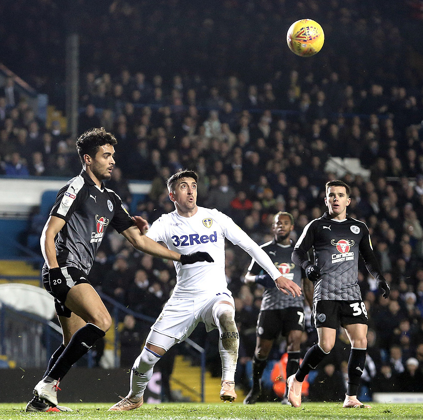 Reading's Tiago Ilori vies for possession with Leeds United's Pablo Hernandez<br /> <br /> Photographer Rich Linley/CameraSport<br /> <br /> The EFL Sky Bet Championship - Leeds United v Reading - Tuesday 27th November 2018 - Elland Road - Leeds<br /> <br /> World Copyright © 2018 CameraSport. All rights reserved. 43 Linden Ave. Countesthorpe. Leicester. England. LE8 5PG - Tel: +44 (0) 116 277 4147 - admin@camerasport.com - www.camerasport.com