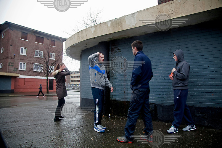 People hanging out in a housing estate on Donore Avenue.