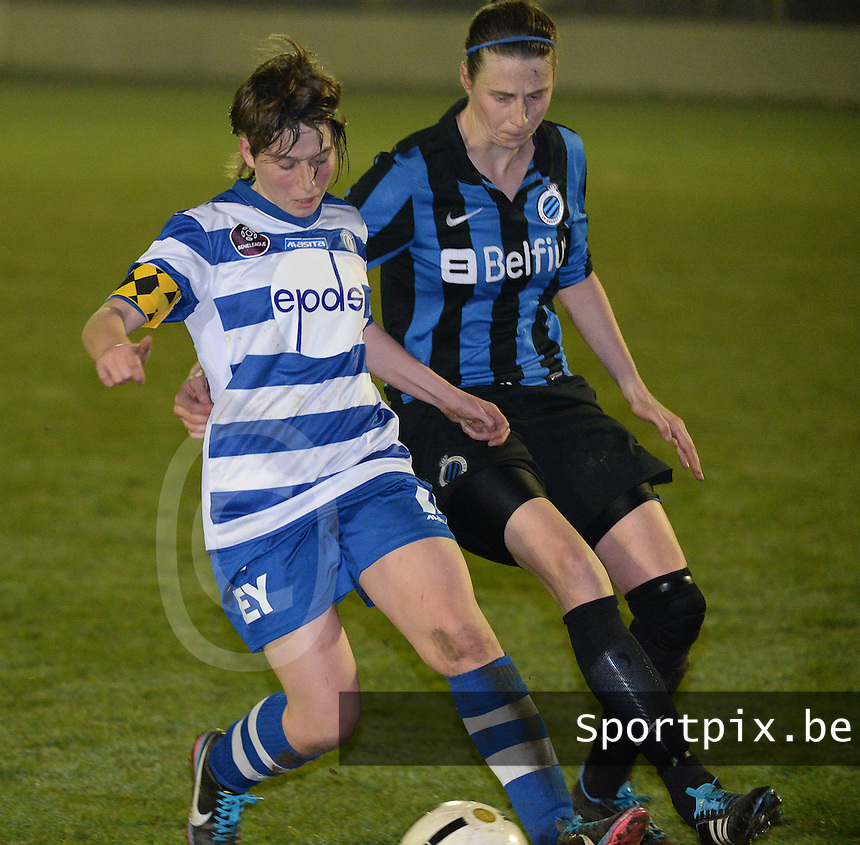 20140326 - AALTER , BELGIUM : Gent's Elke Van De Sompel (l) pictured with Brugge's Heleen Jaques (r) during the soccer match between the women teams of Club Brugge Vrouwen  and AA Gent  Ladies , on the 21th matchday of the BeNeleague competition Friday 14 March 2014 in Aalter. PHOTO DAVID CATRY